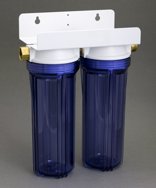 A Double Clear Garden Hose Filter. The double filter allows either variety (a sediment cartridge in one canister and a carbon block in the other ... & Garden Hose Filters